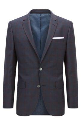 Slim-fit checked jacket in virgin wool , Dark Blue