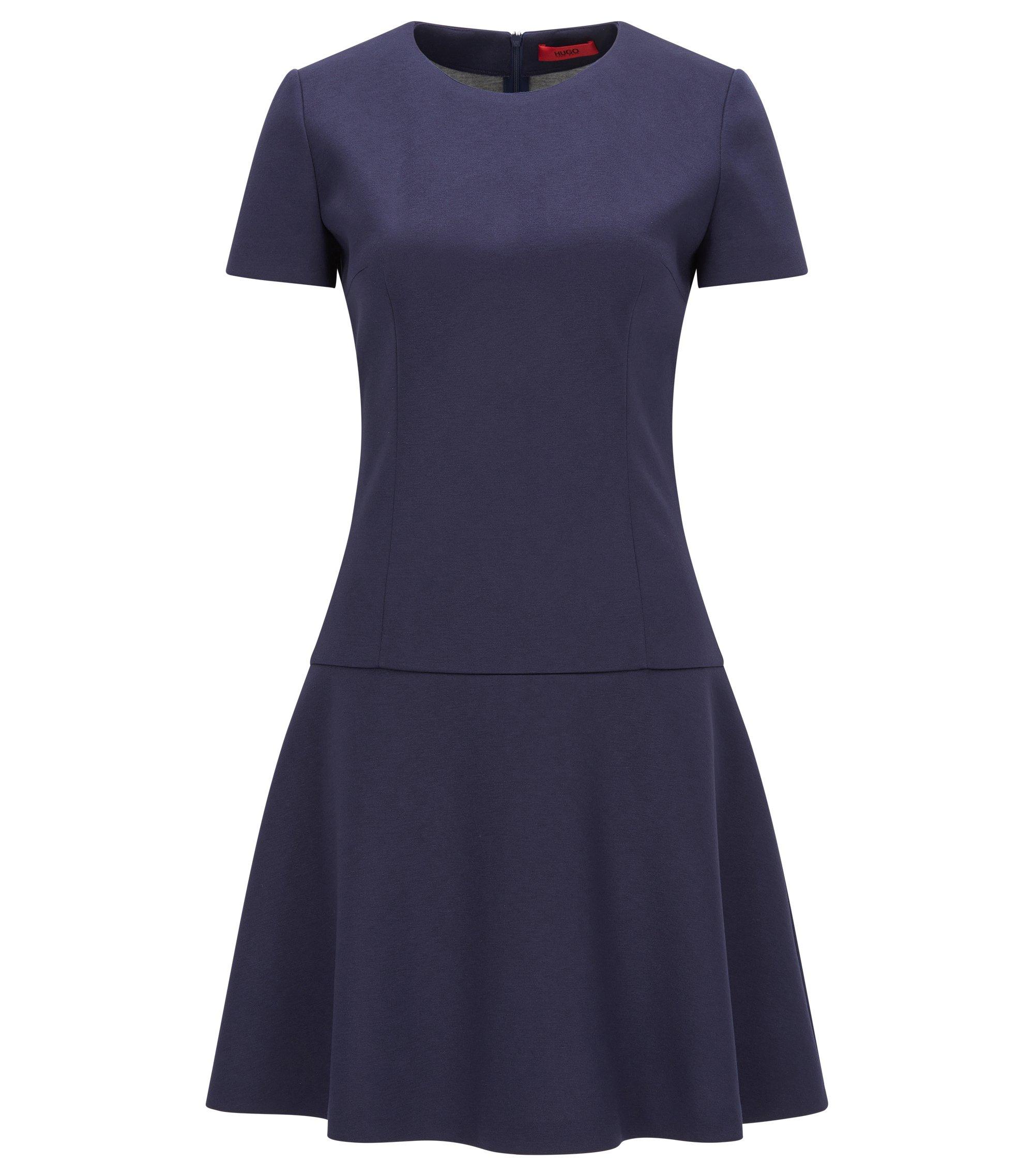Slim-Fit Kleid aus gebondetem Jersey mit vertiefter Taille, Dunkelblau