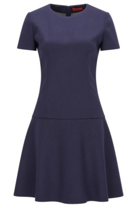 Dropped-waist dress in bonded jersey, Dark Blue