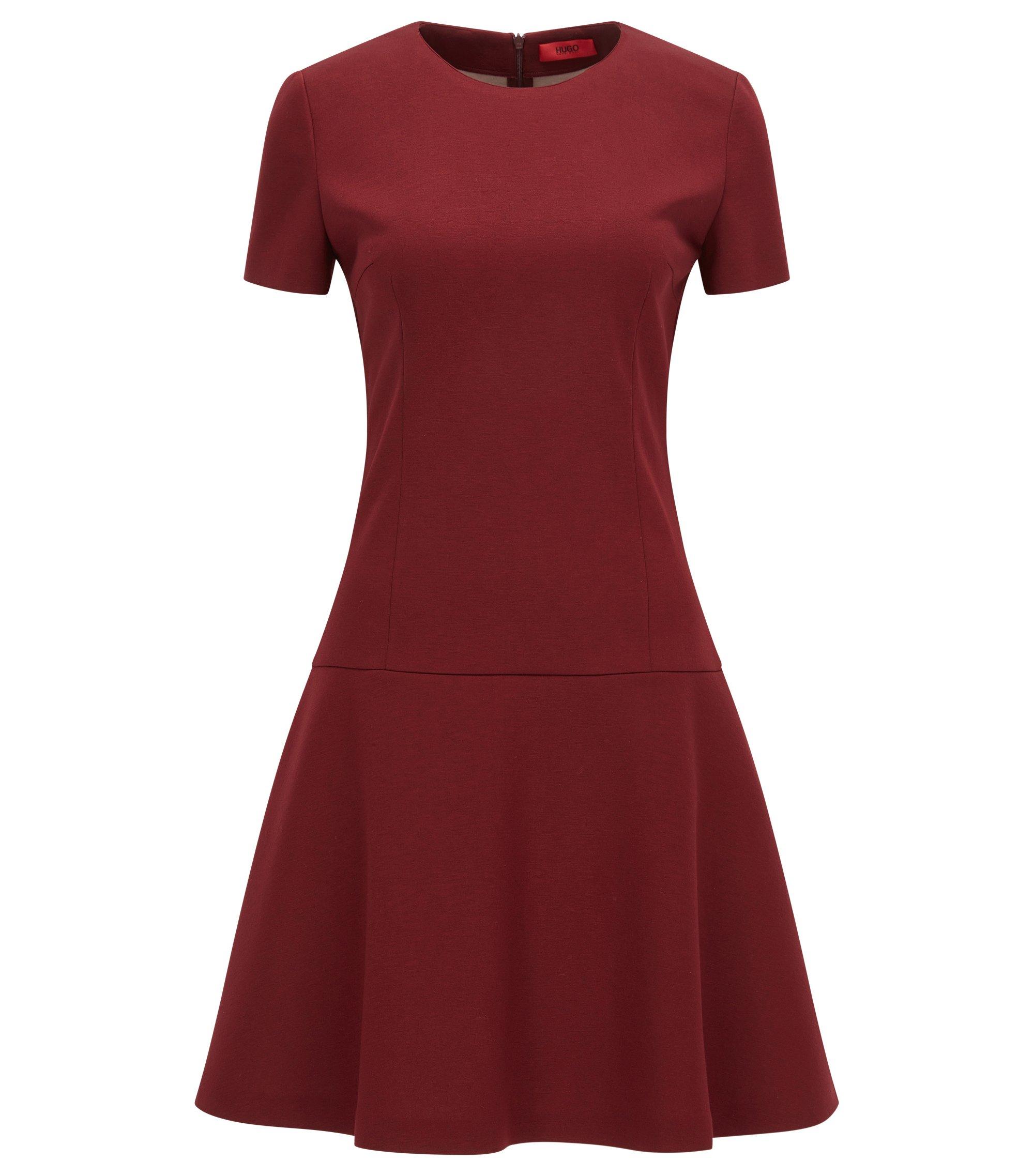 Robe à taille basse en jersey thermocollé, Rouge sombre