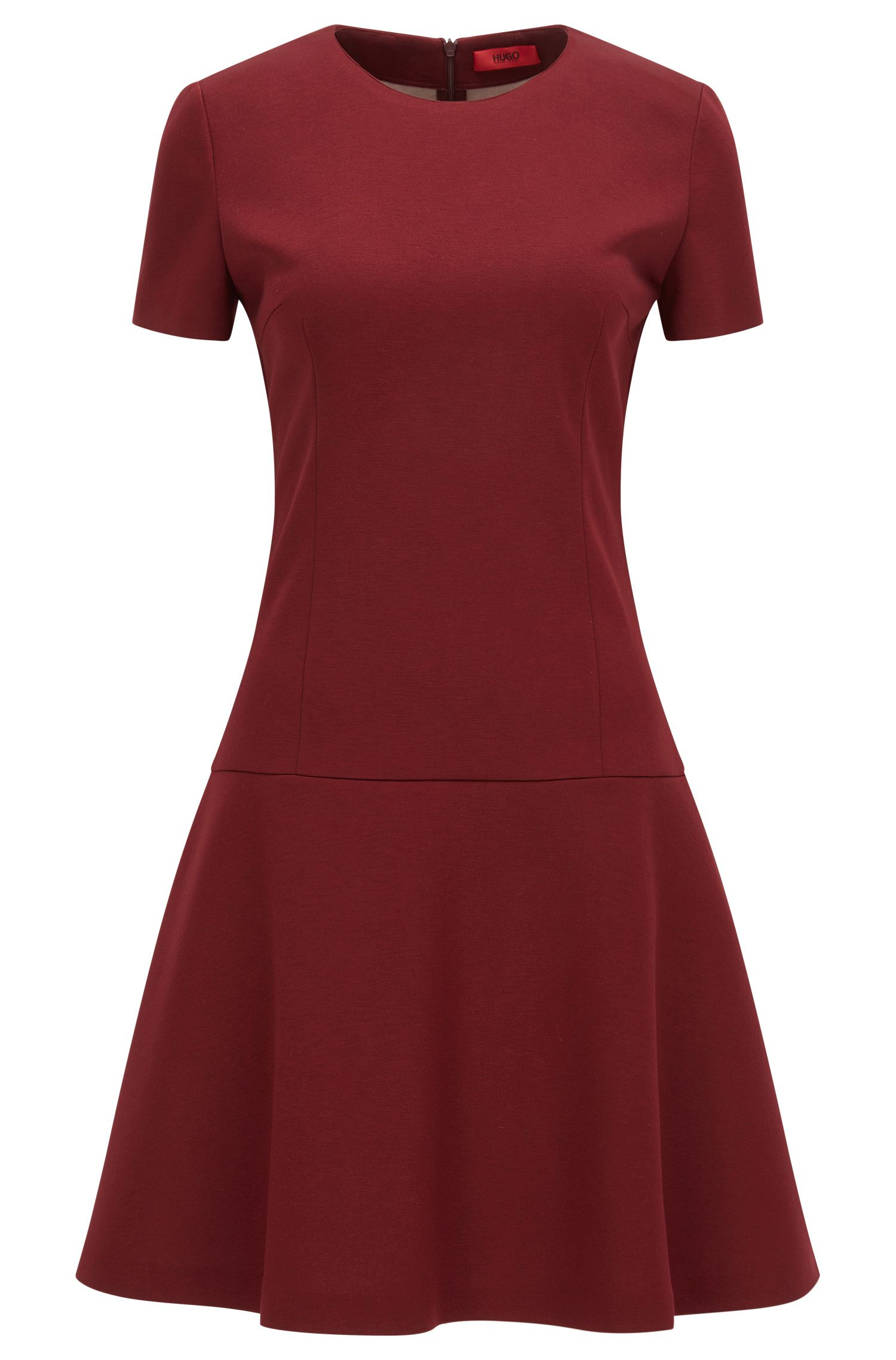 Slim-Fit Kleid aus gebondetem Jersey mit vertiefter Taille