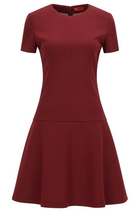 Dropped-waist dress in bonded jersey, Dark Red