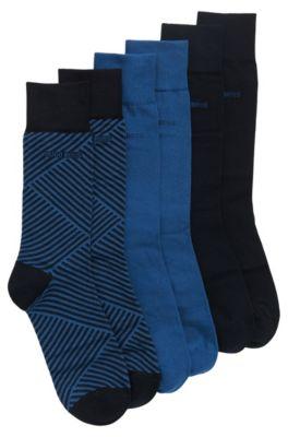 Coffret cadeau avec 3paires de chaussettes mi-mollet en coton mélangé, Bleu foncé