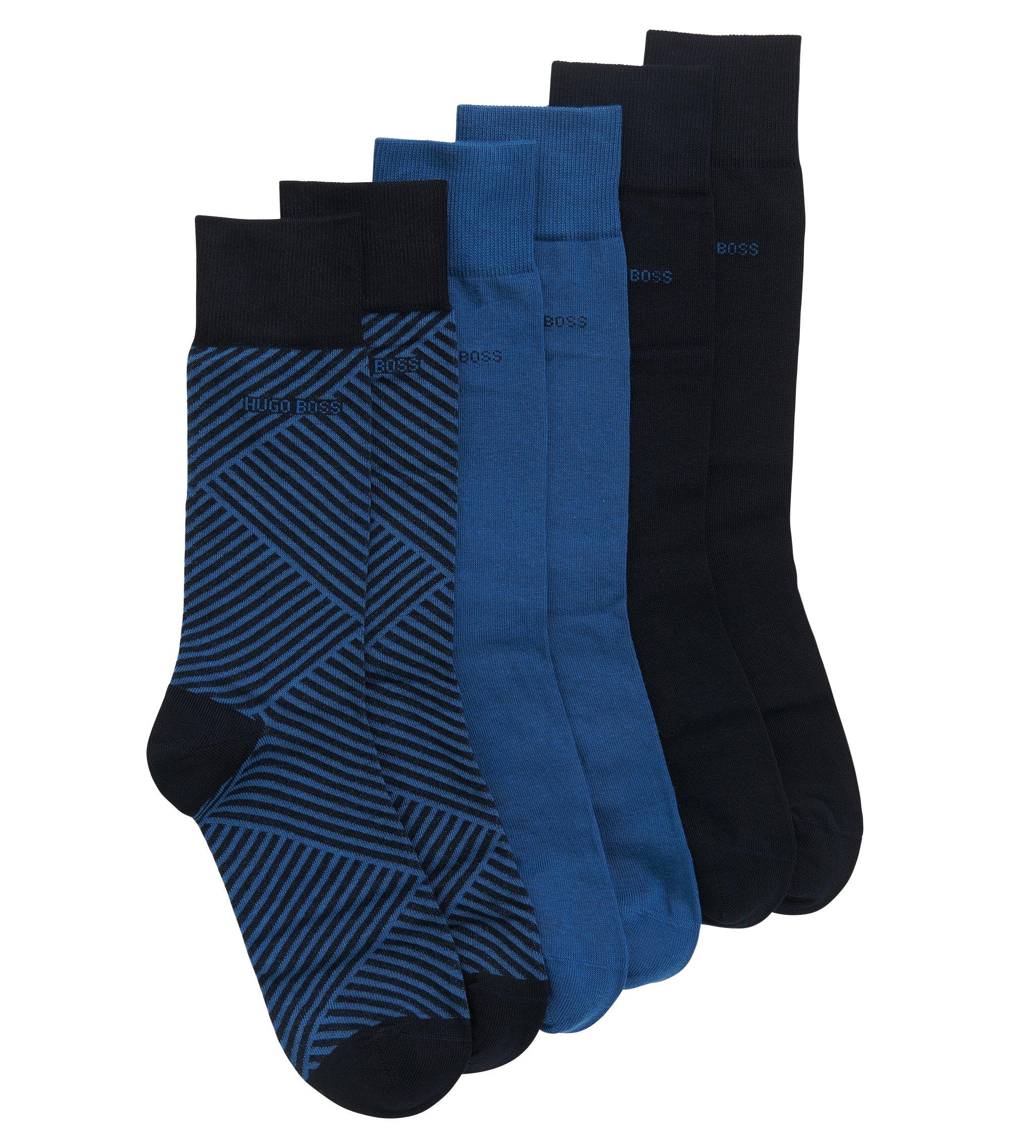 Set regalo composto da calze di lunghezza media in misto cotone in confezione da tre, Blu scuro