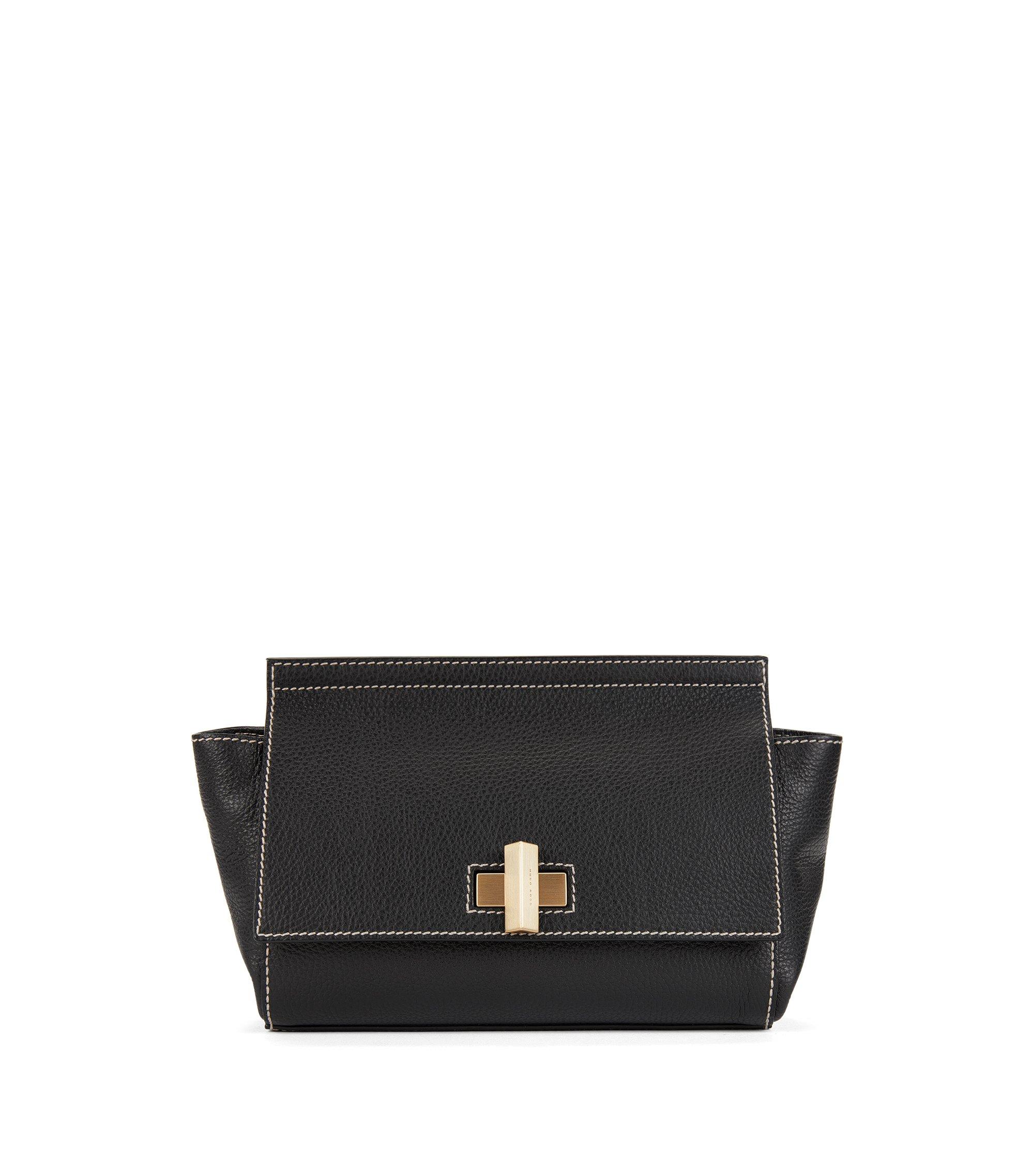 BOSS Bespoke Bag aus italienischem Leder mit Trapez-Form, Schwarz