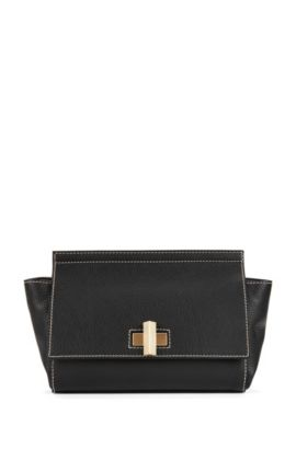 BOSS Bespoke winged handbag in Italian leather, Black