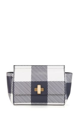 BOSS Bespoke Bag aus italienischem Leder mit Print, Dunkelblau