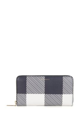 BOSS Bespoke Soft zip-around wallet in Saffiano checked leather, Dark Blue