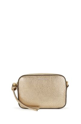 BOSS Bespoke Soft shoulder bag in metallic leather, Gold