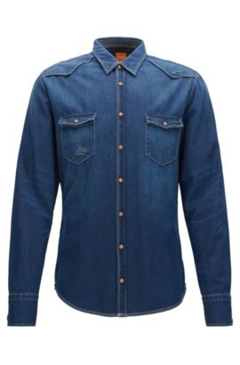 Slim-fit denim overhemd, Donkerblauw