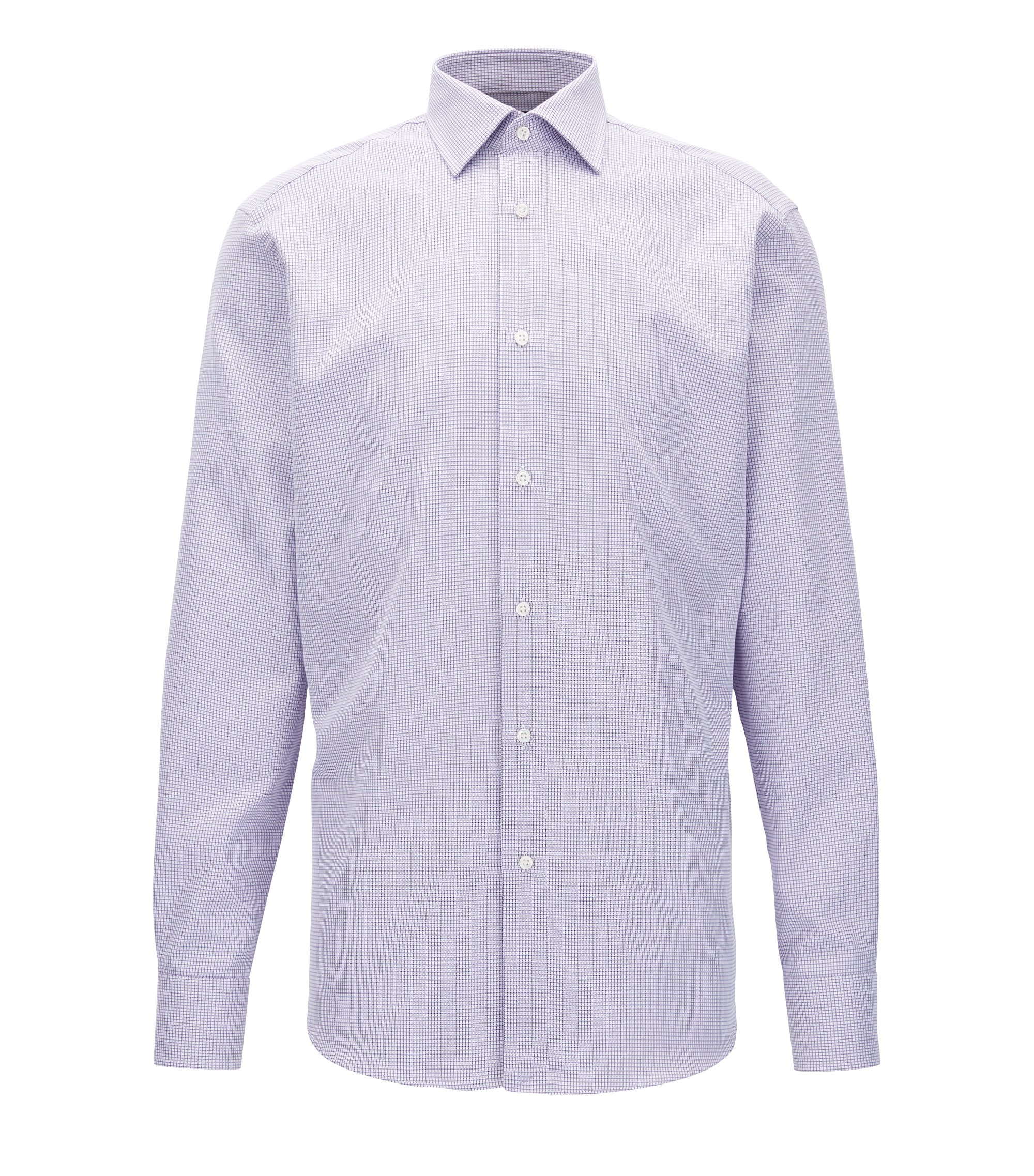 Regular-fit Italian cotton shirt in a patterned check, Purple