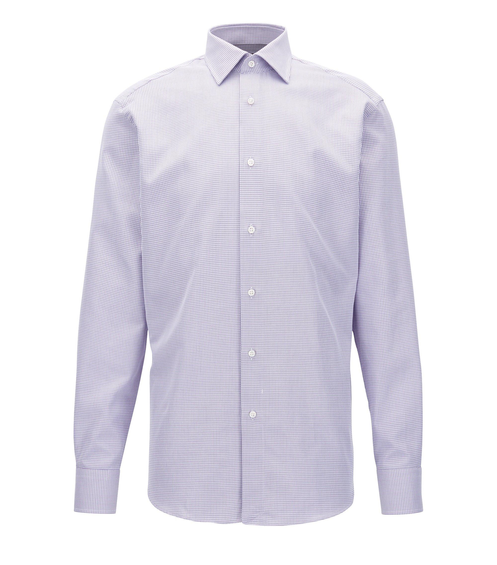 Chemise Regular Fit en coton italien à carreaux, Lilas