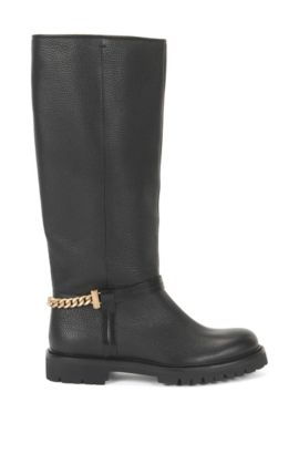 Flat knee-high boots in Italian leather, Black