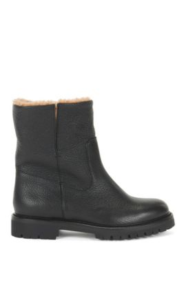 Leather boots with lambskin lining, Black