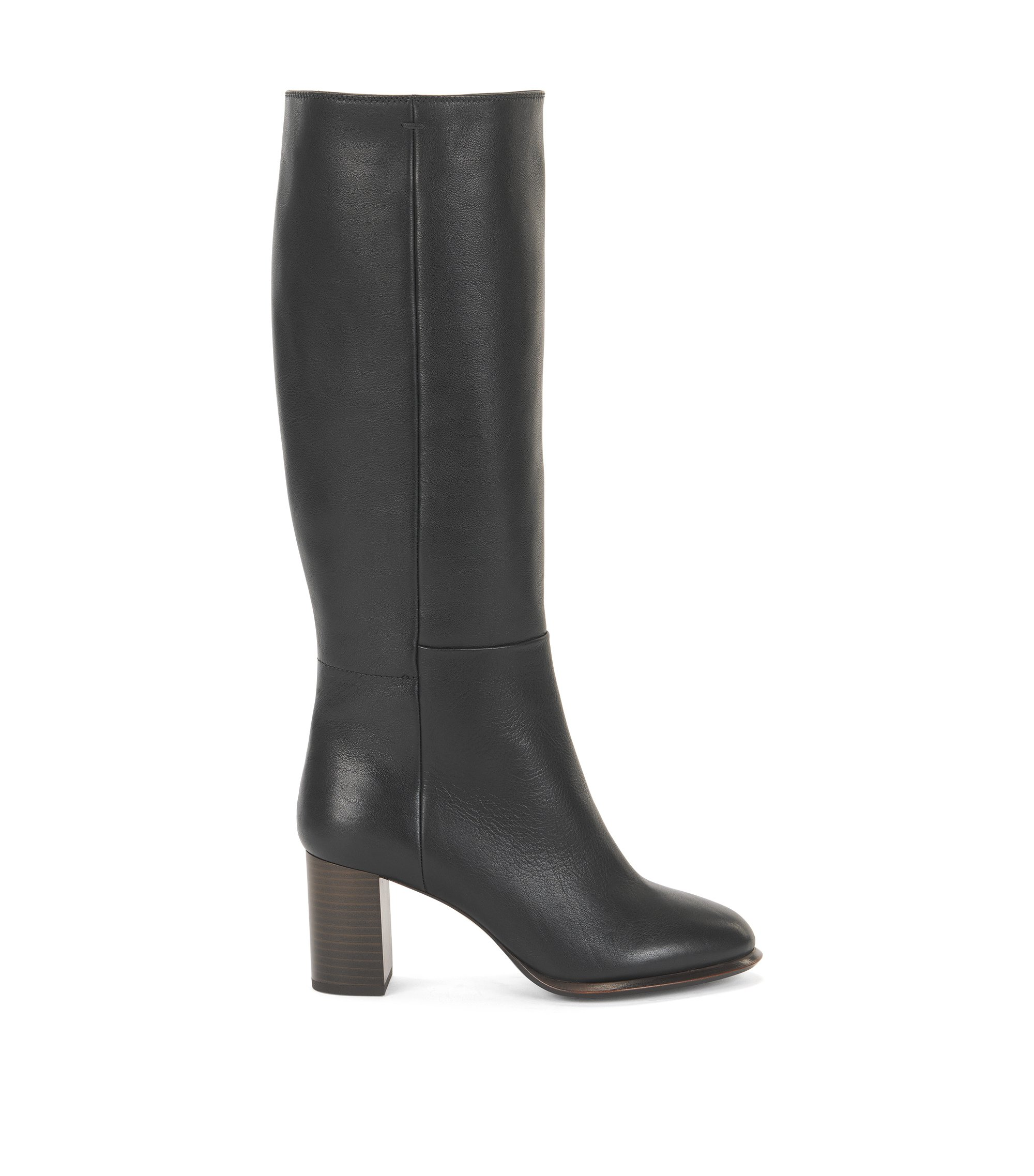 Knee-high boots in Italian leather, Black