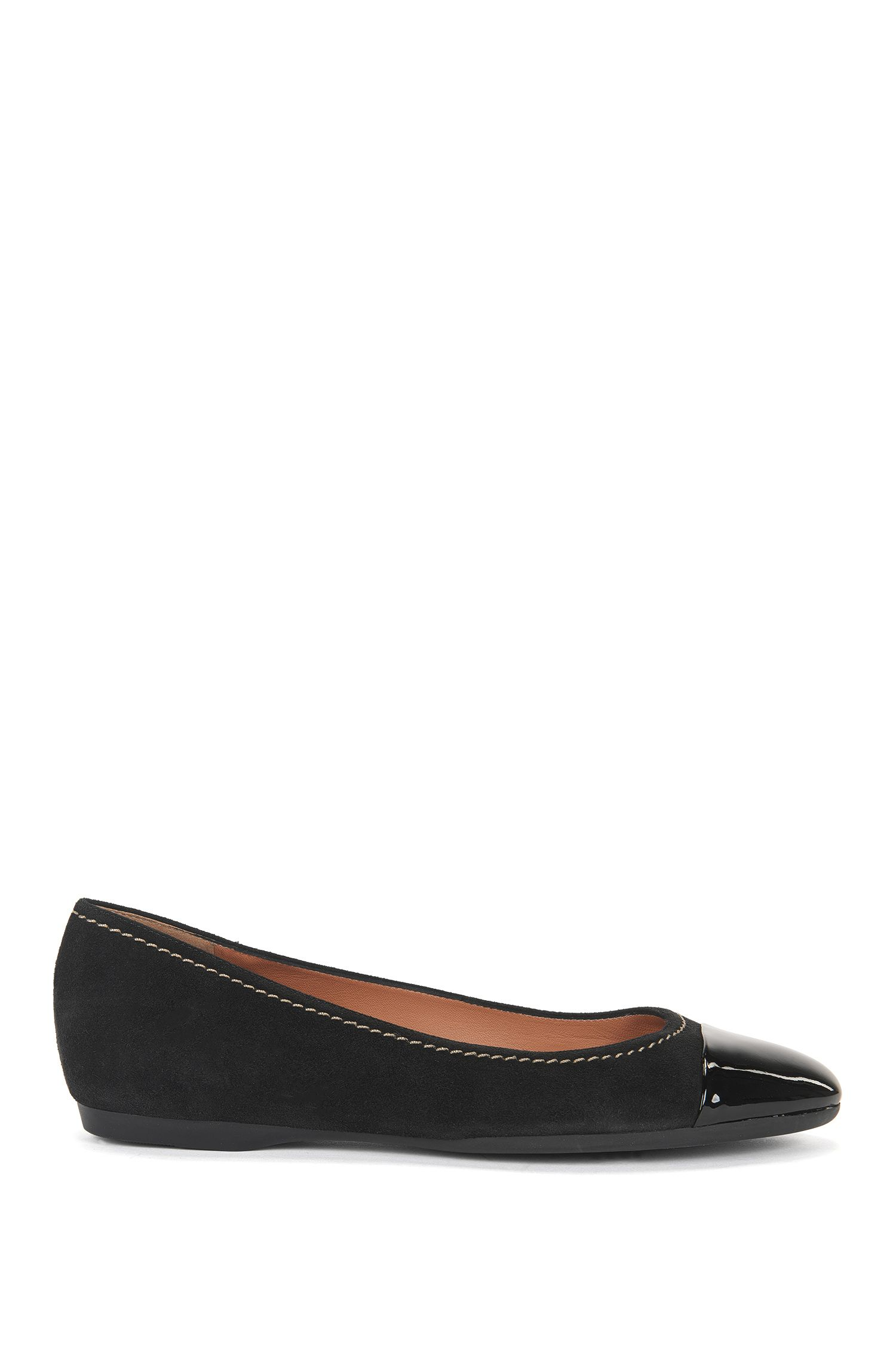 Suede ballet flats with patent toe
