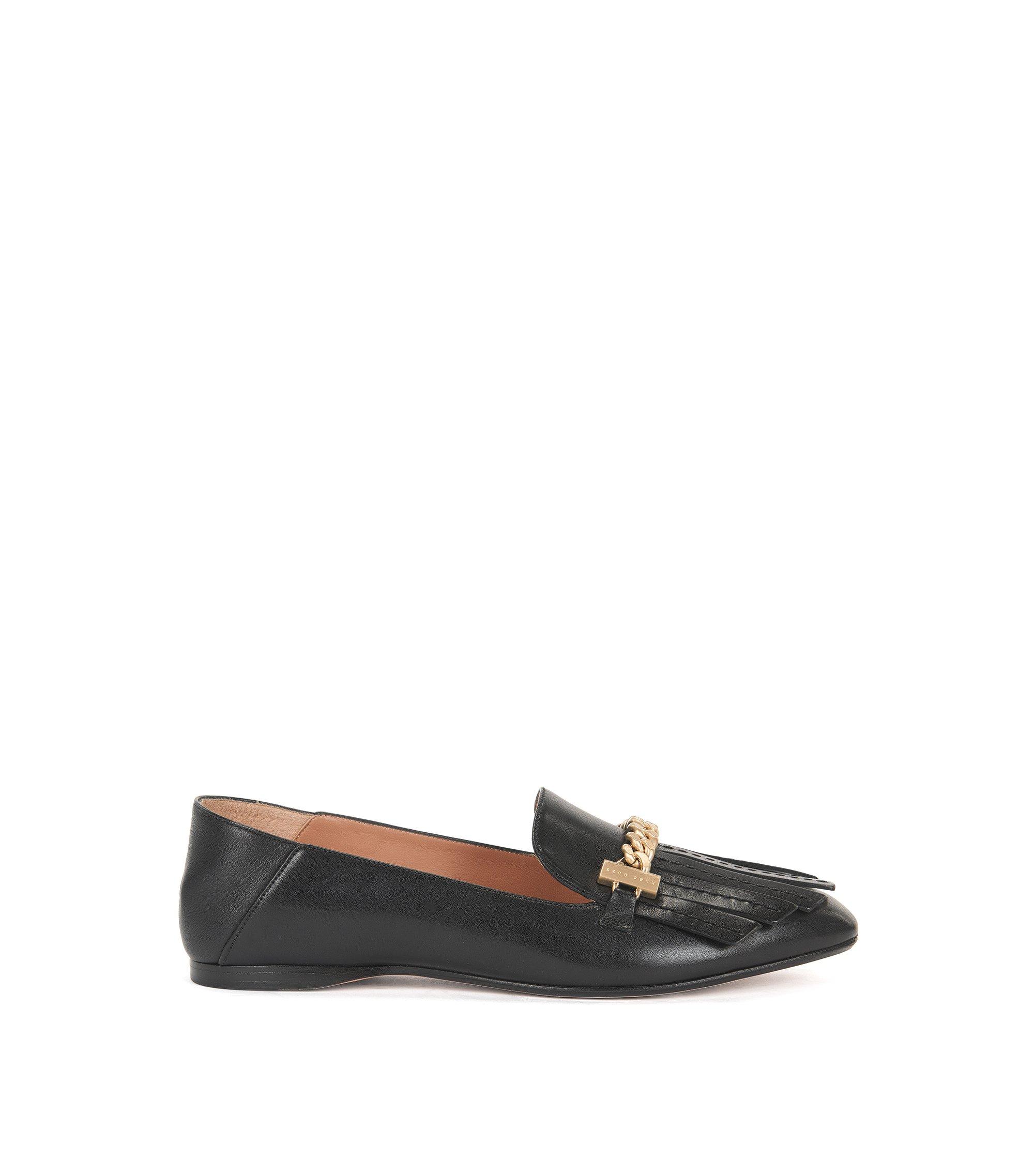 Fringe-trim loafers in Italian leather, Black