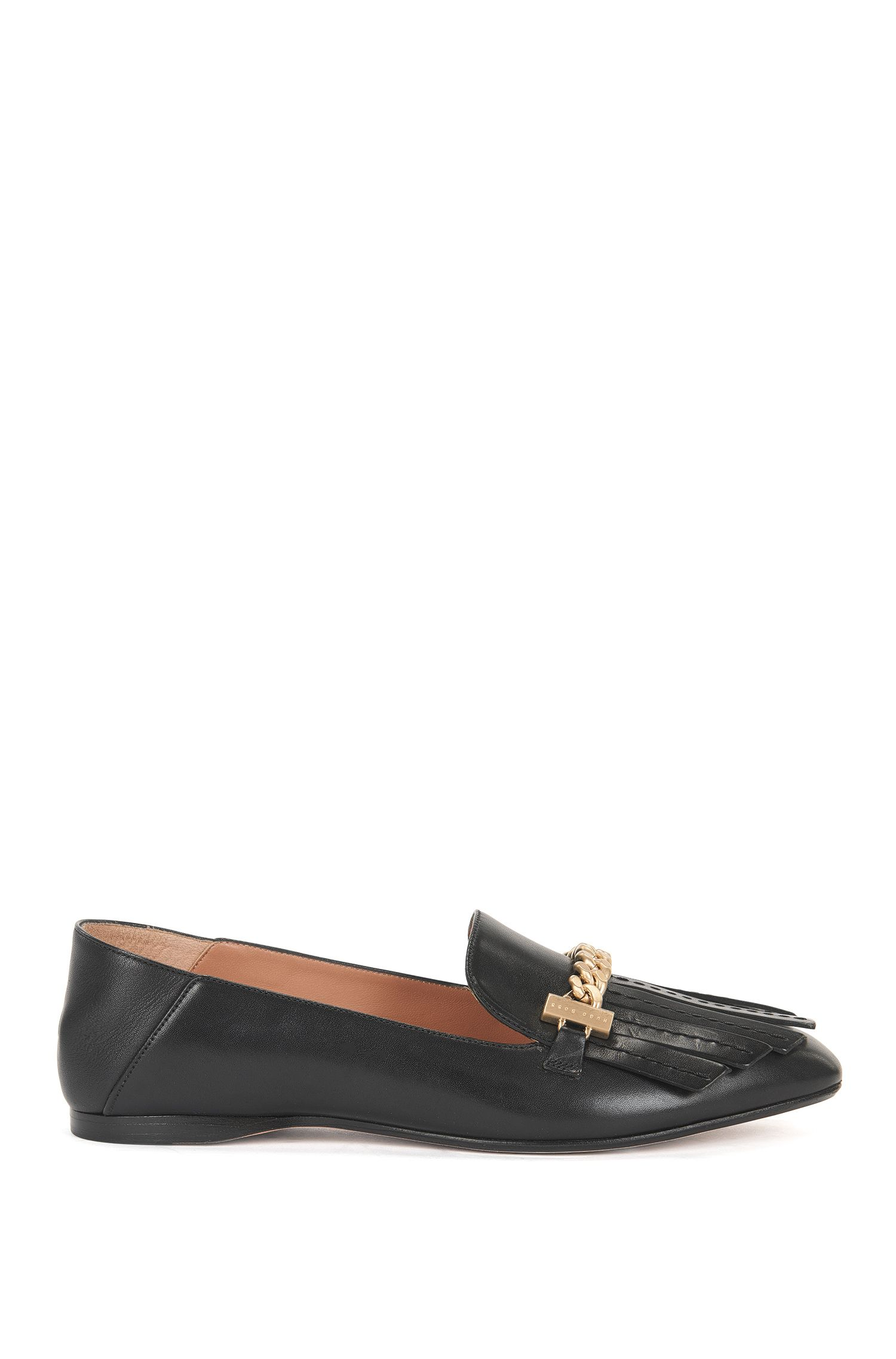 Fringe-trim loafers in Italian leather