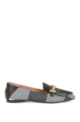 Leather loafers with chain trim, Patterned