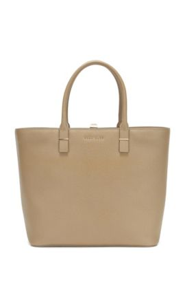 BOSS Luxury Staple tote in Italian leather, Beige
