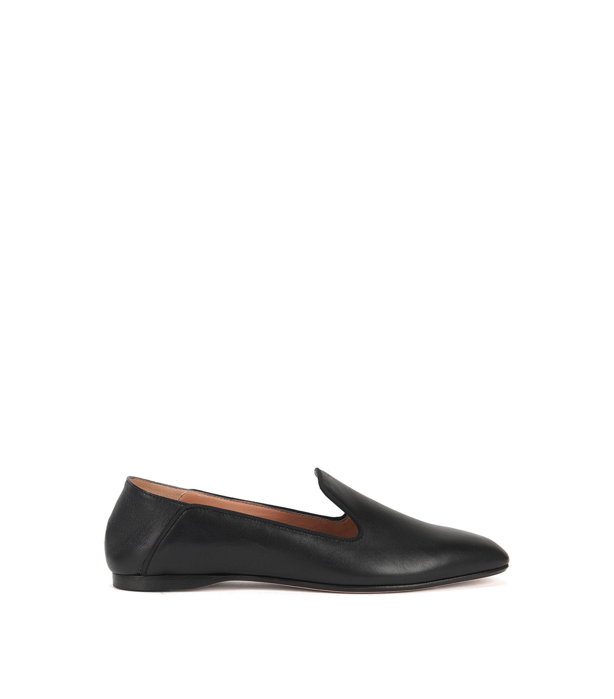 Flat loafers in Italian leather, Black