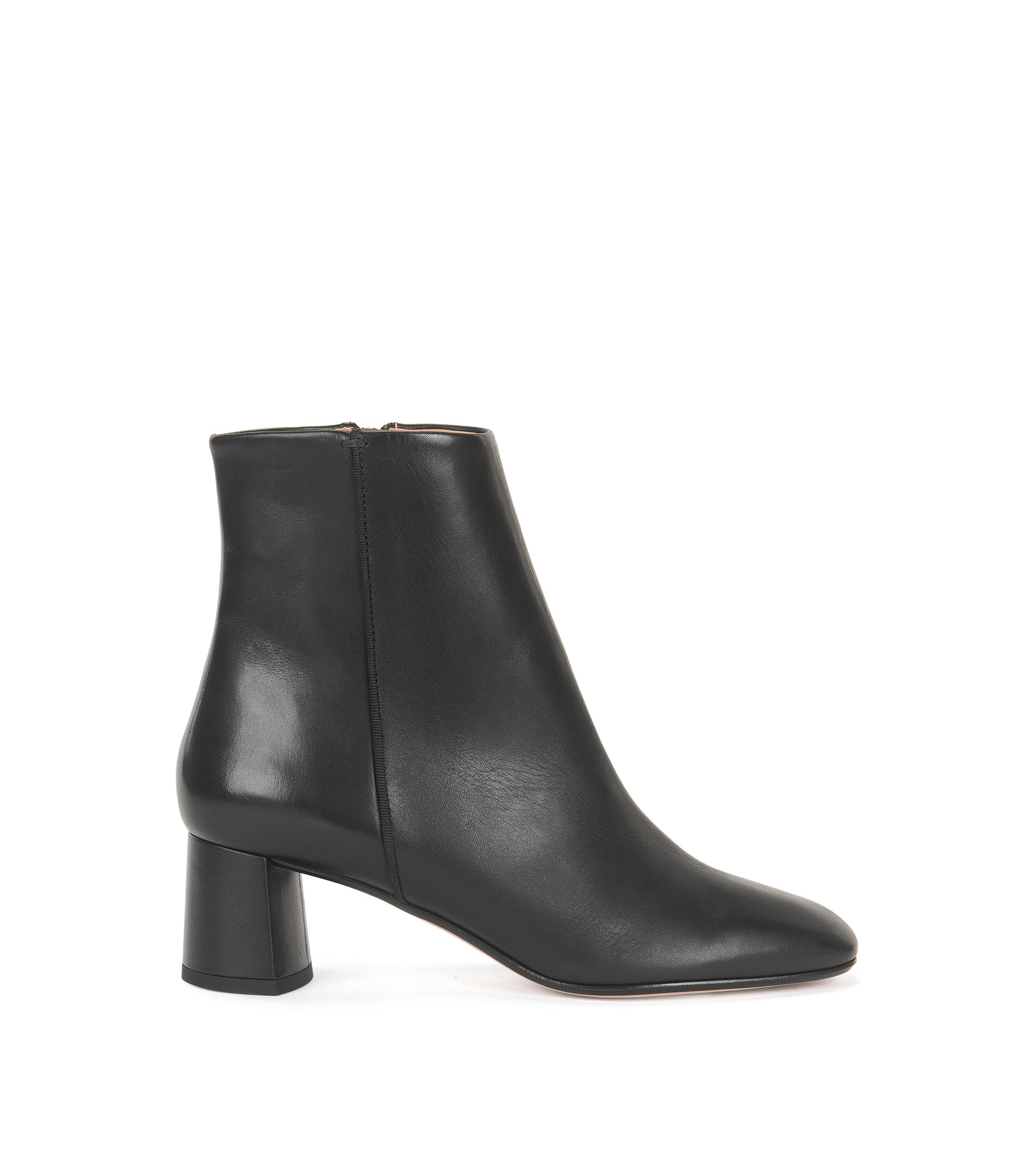 Leather ankle boots with chunky heel, Black