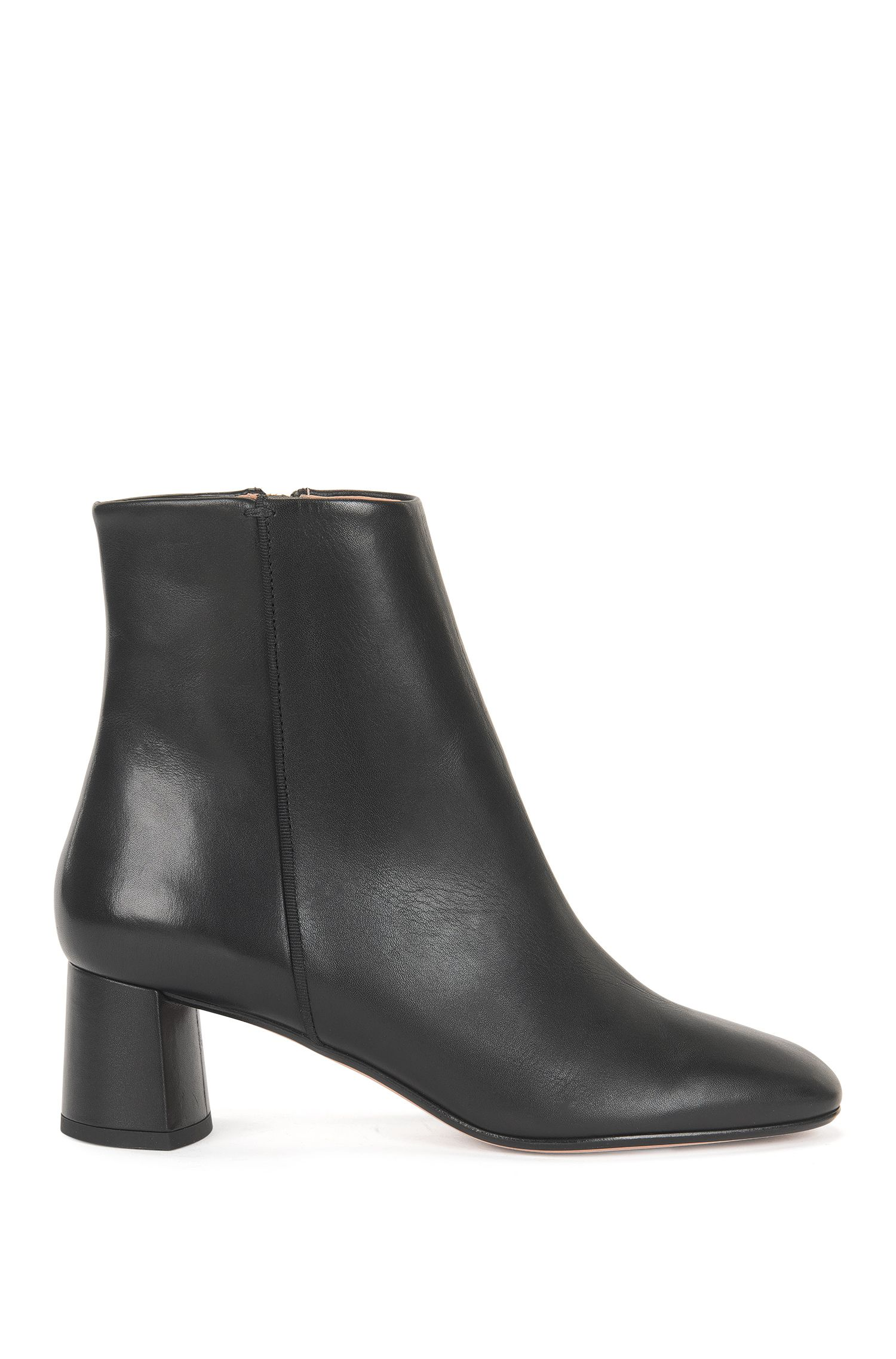 Leather ankle boots with chunky heel