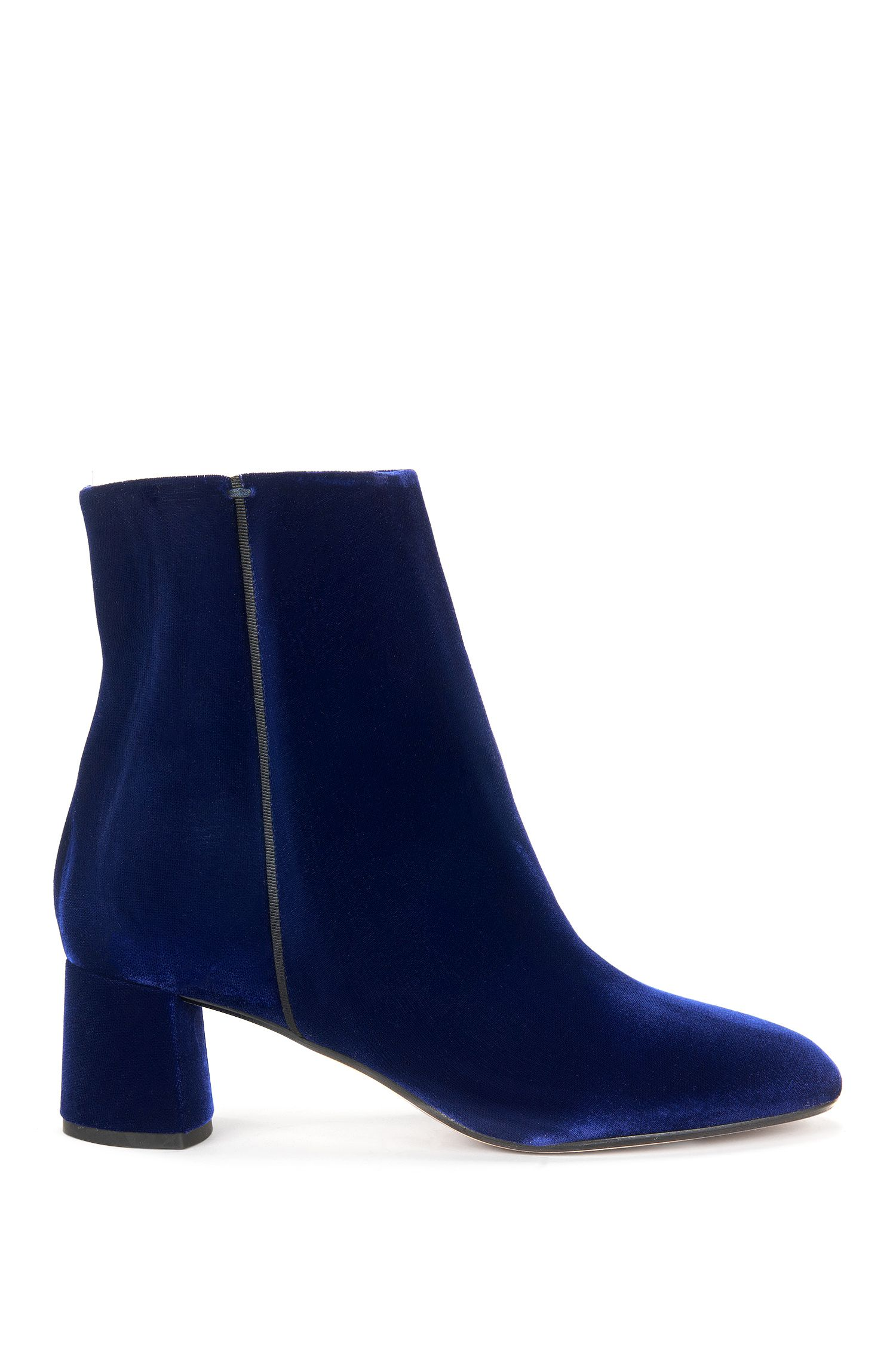 Heeled ankle boots in soft velvet