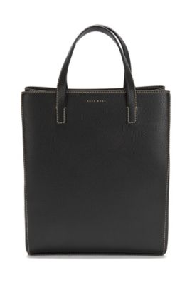 BOSS Bespoke Soft tote bag in Italian leather, Black