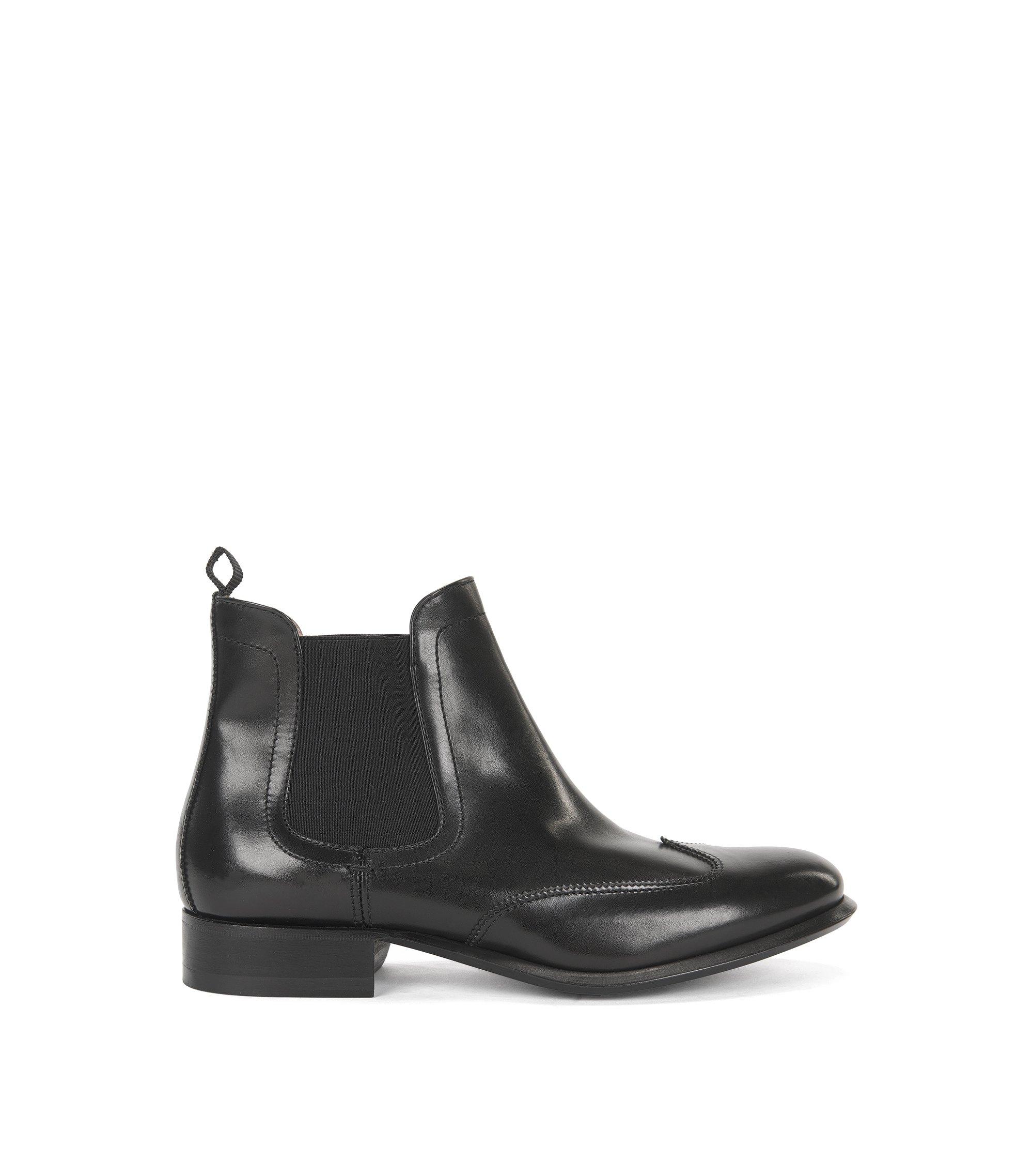Chelsea Boots aus Leder, Schwarz