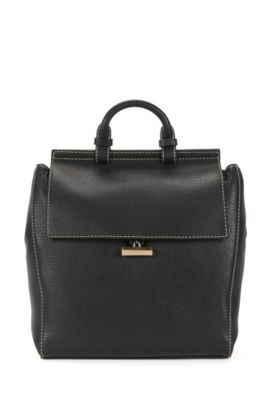 BOSS Bespoke backpack in Italian leather, Black