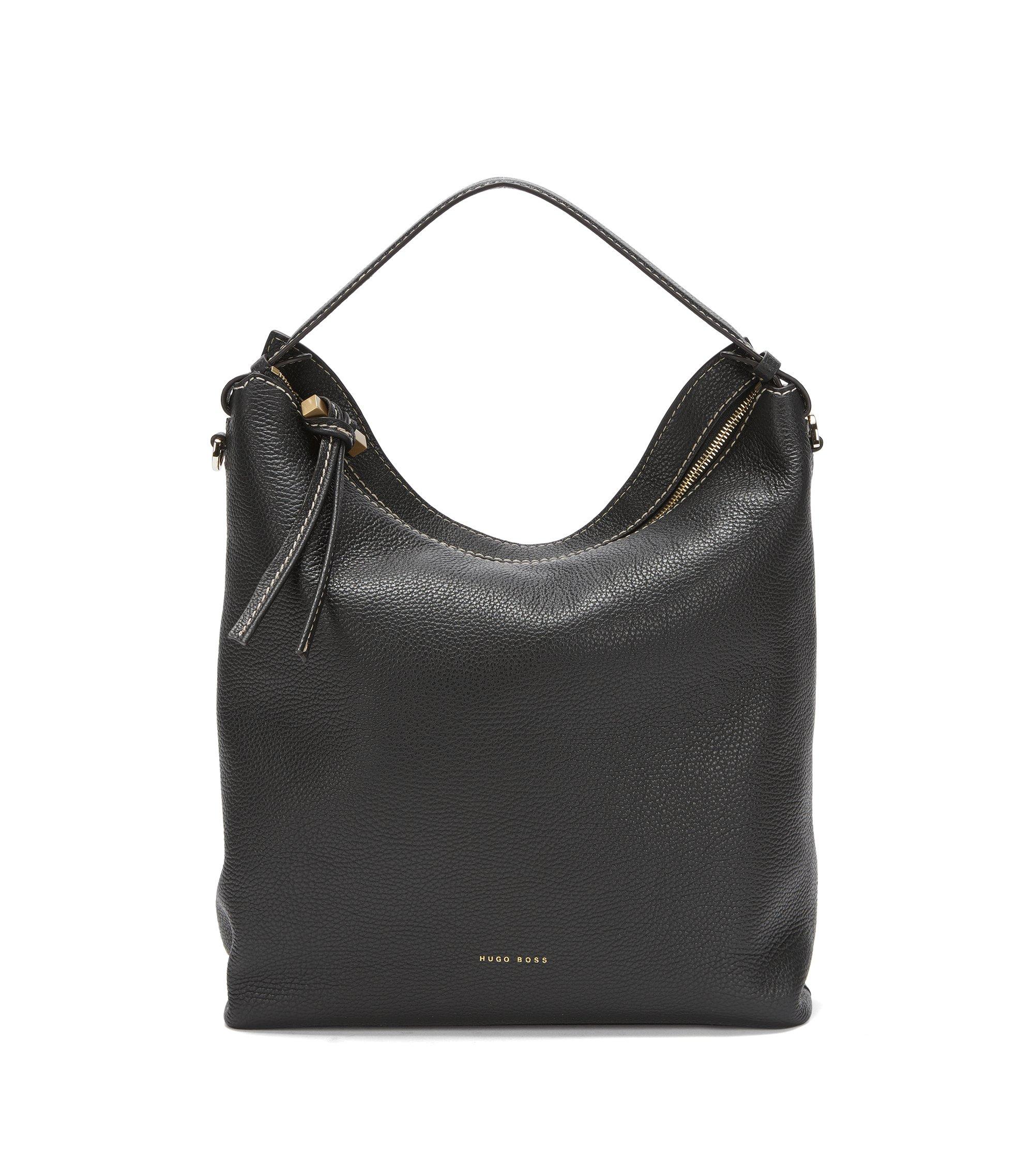 BOSS Bespoke Hobo Bag aus italienischem Leder, Schwarz