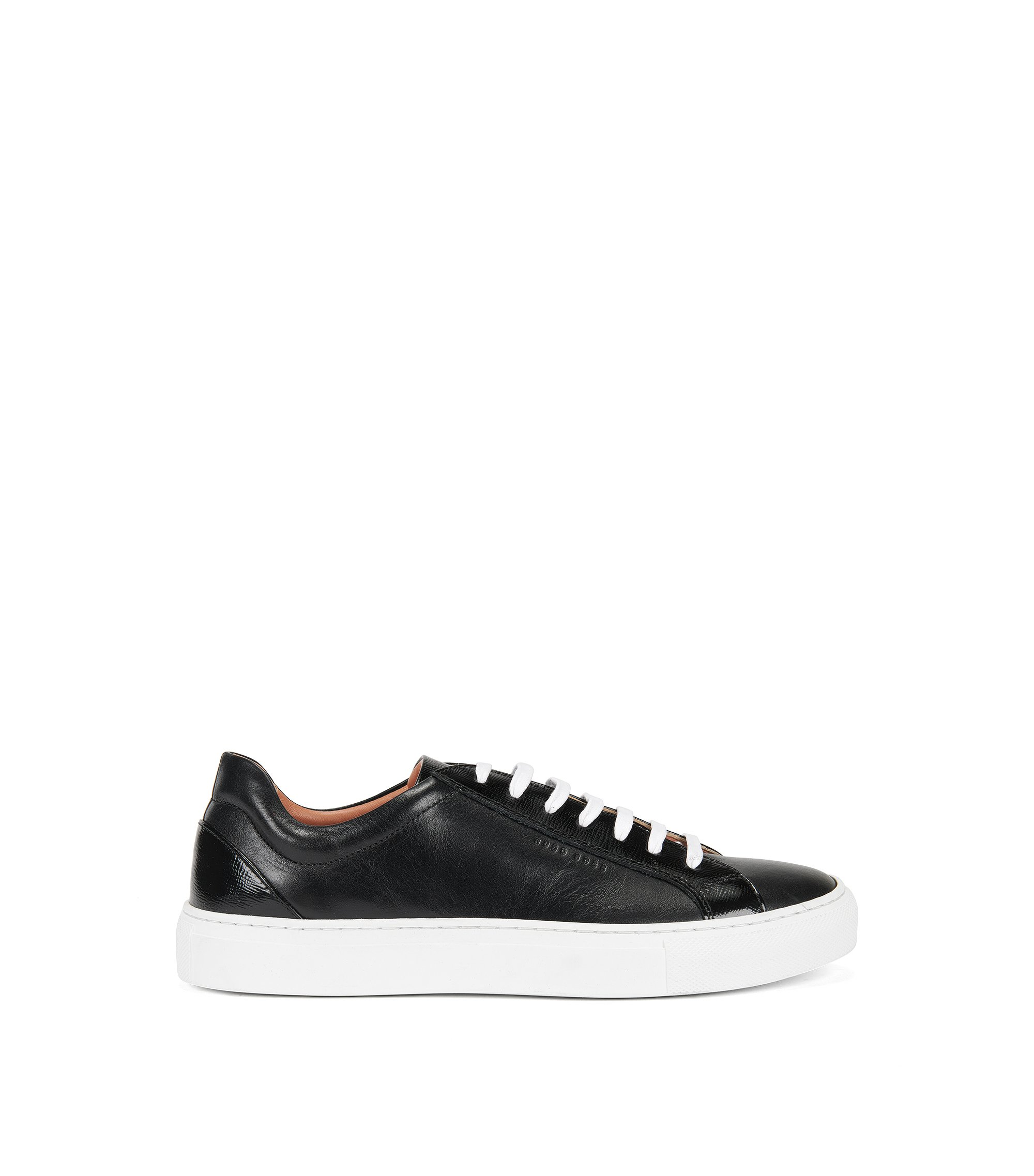 Lace-up trainers in Italian leather, Black