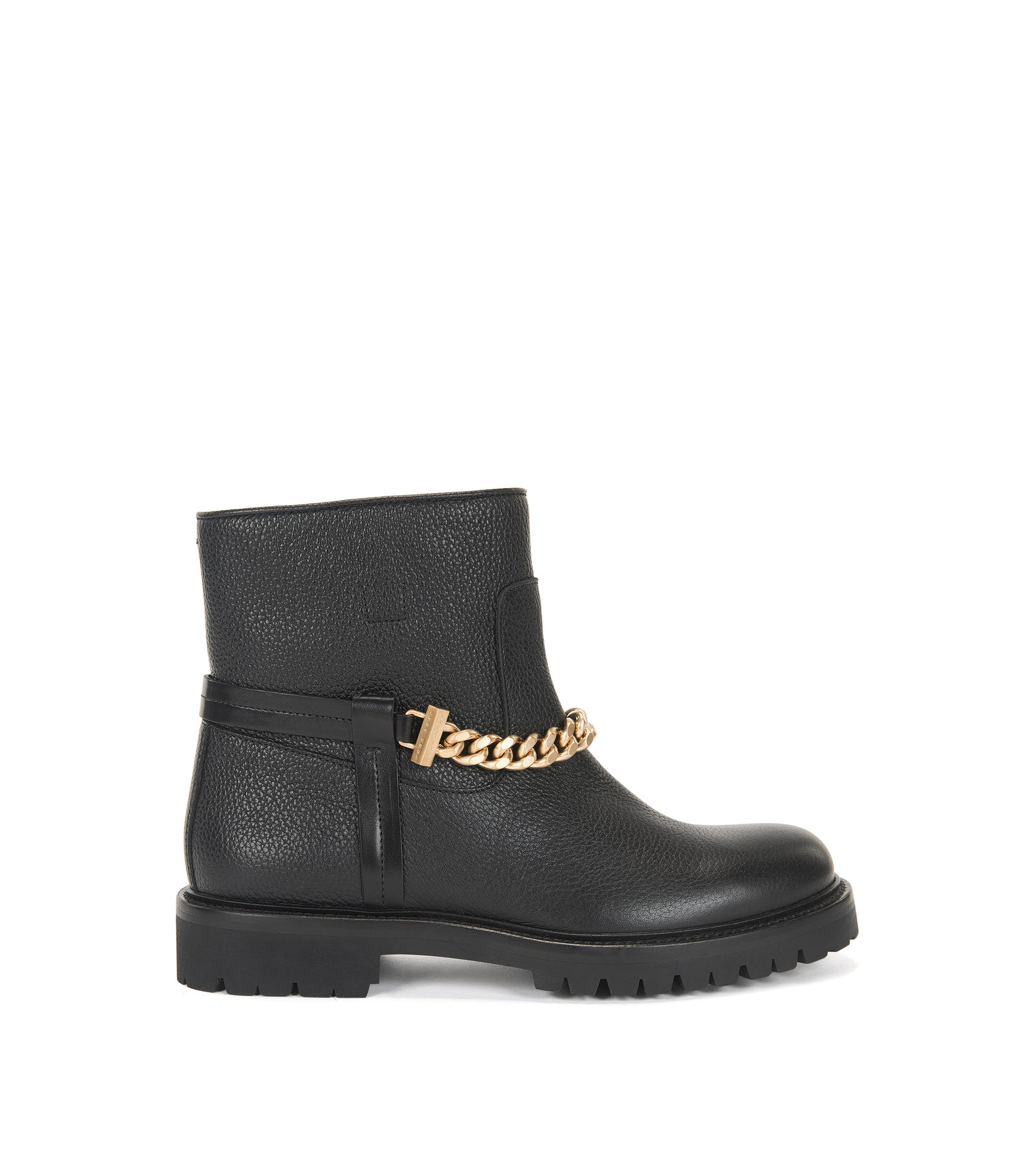 Leather boots with chain detail, Black