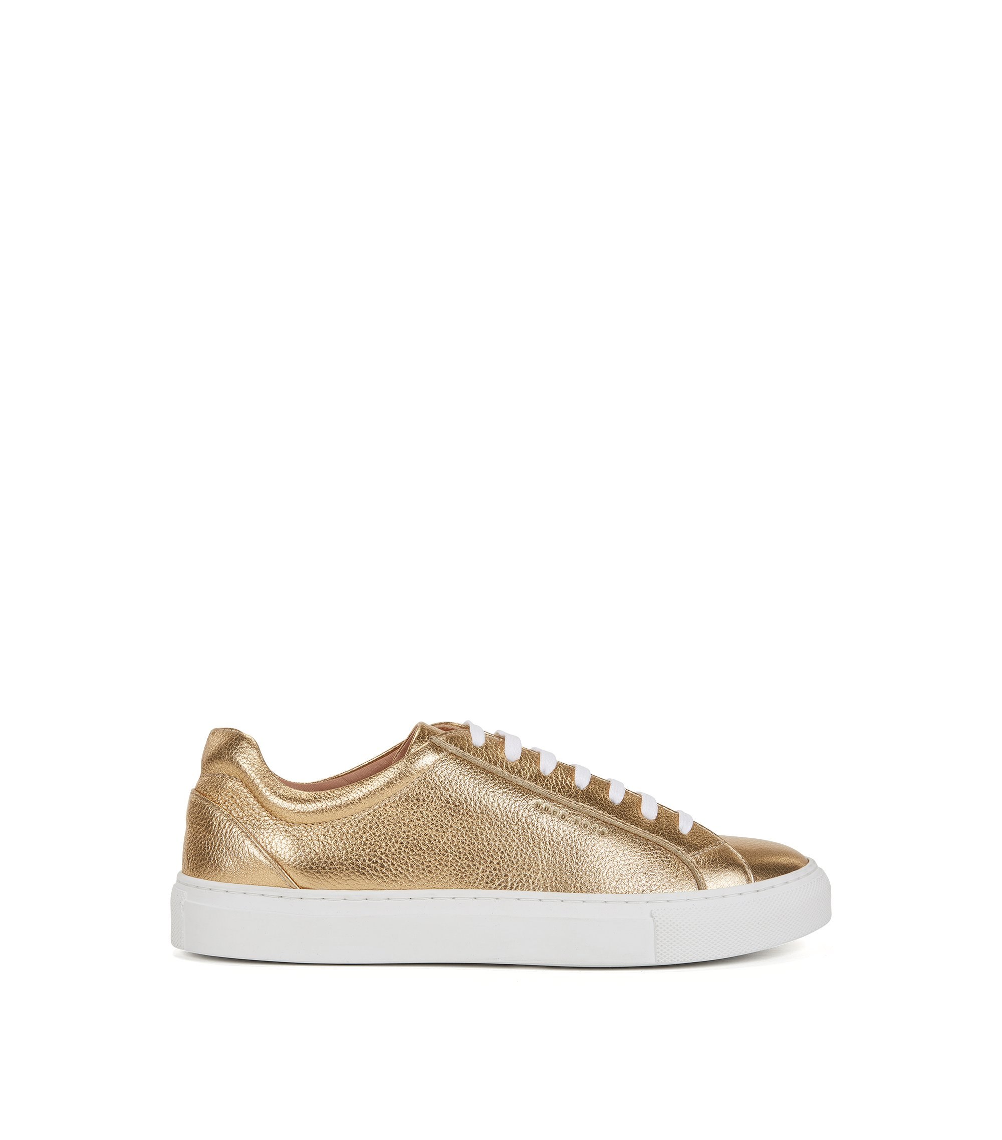 Low-top trainers in metallic leather, Gold