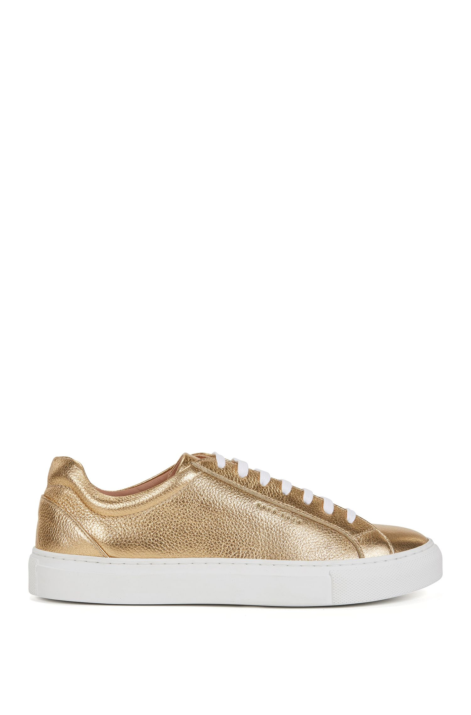 Sneakers low-top in pelle effetto metallizzato