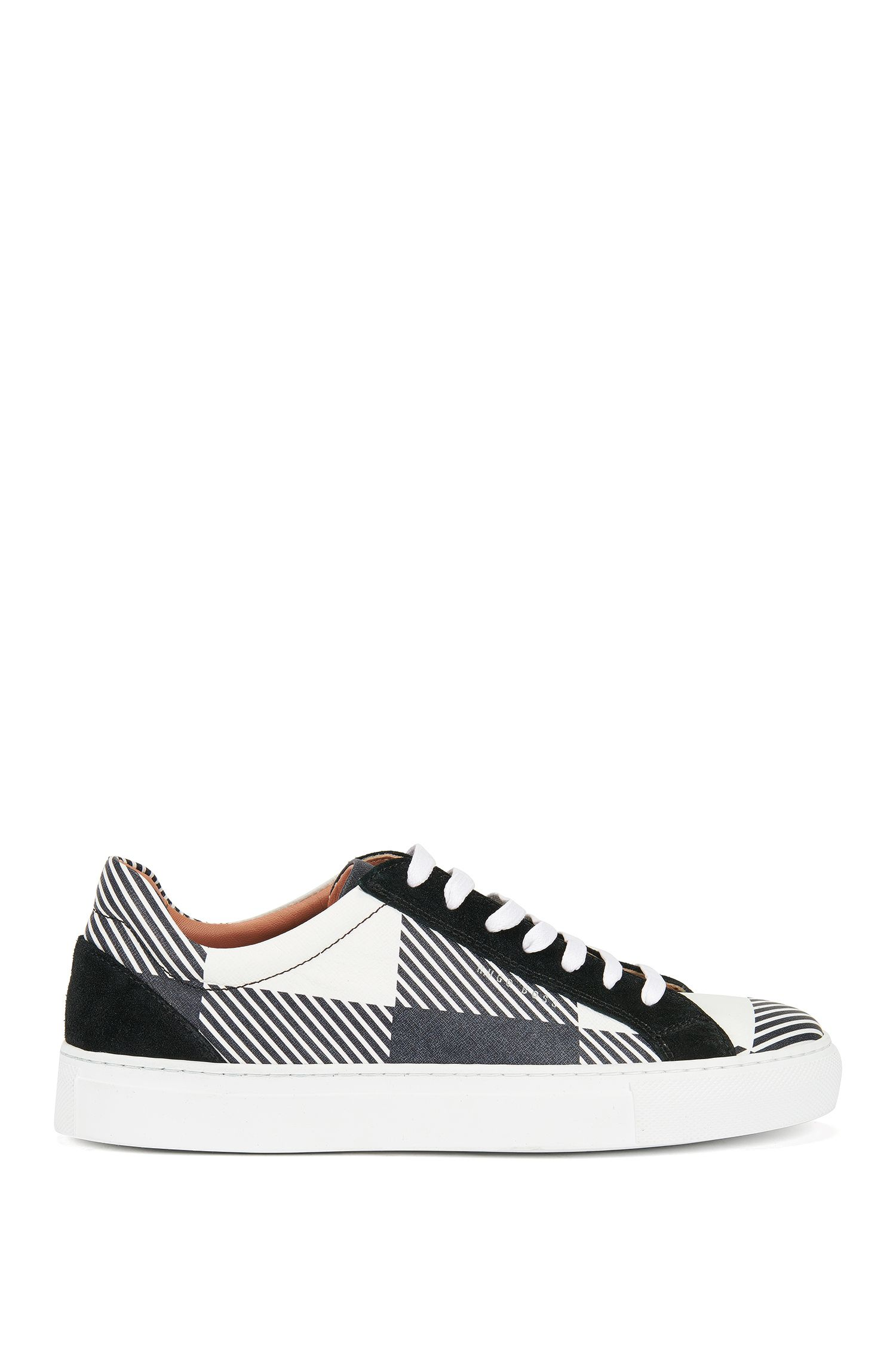 Lace-up check-print trainers in Italian leather