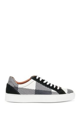 Lace-up check-print trainers in Italian leather, Dark Blue