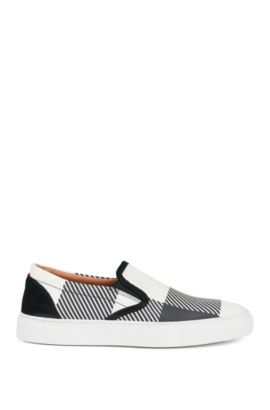 Slip-on check-print shoes in Italian leather, Dark Blue