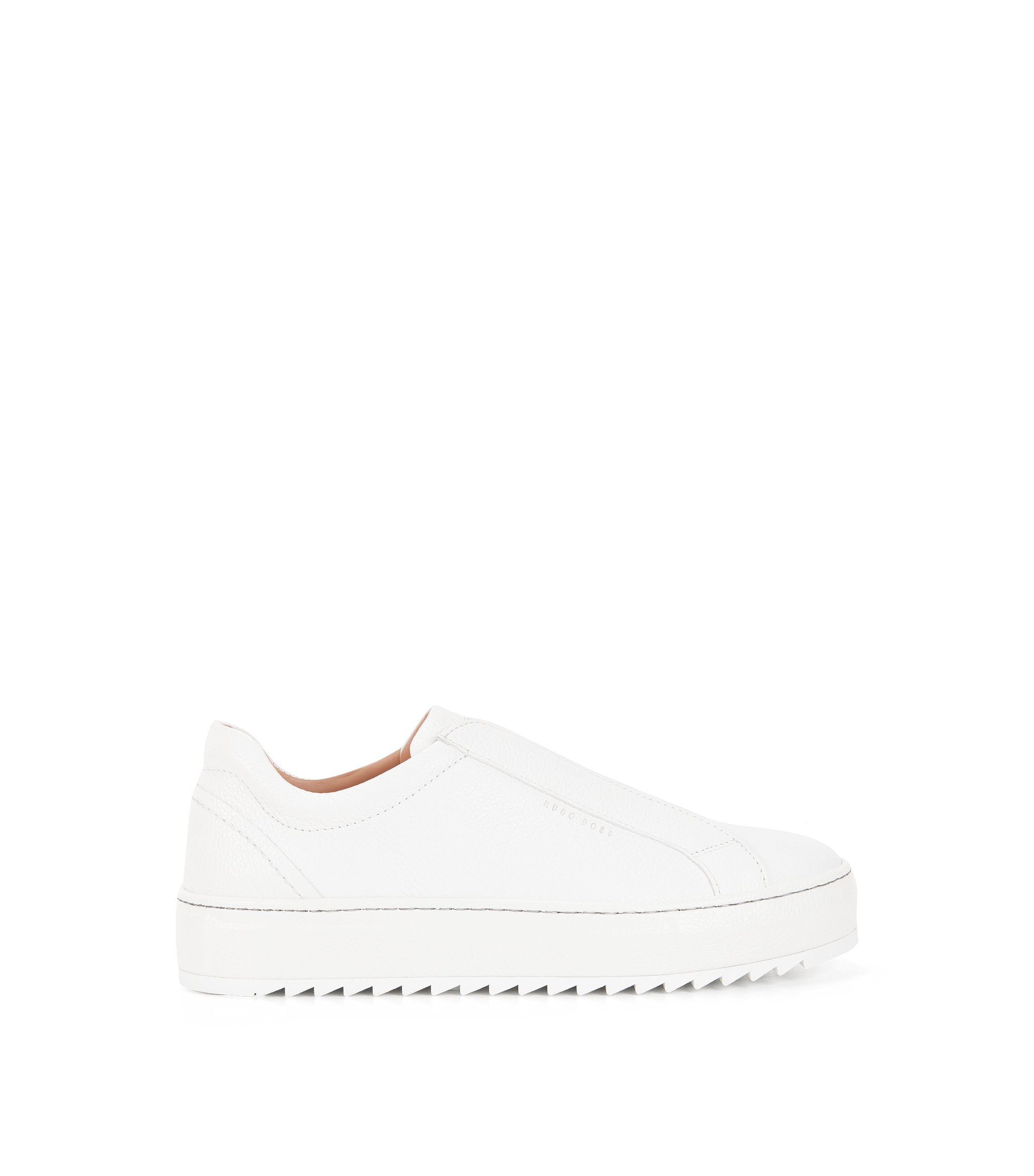 Sneakers low-top senza stringhe in pelle italiana, Bianco