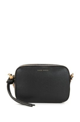 BOSS Bespoke Soft shoulder bag in grained Italian leather, Black