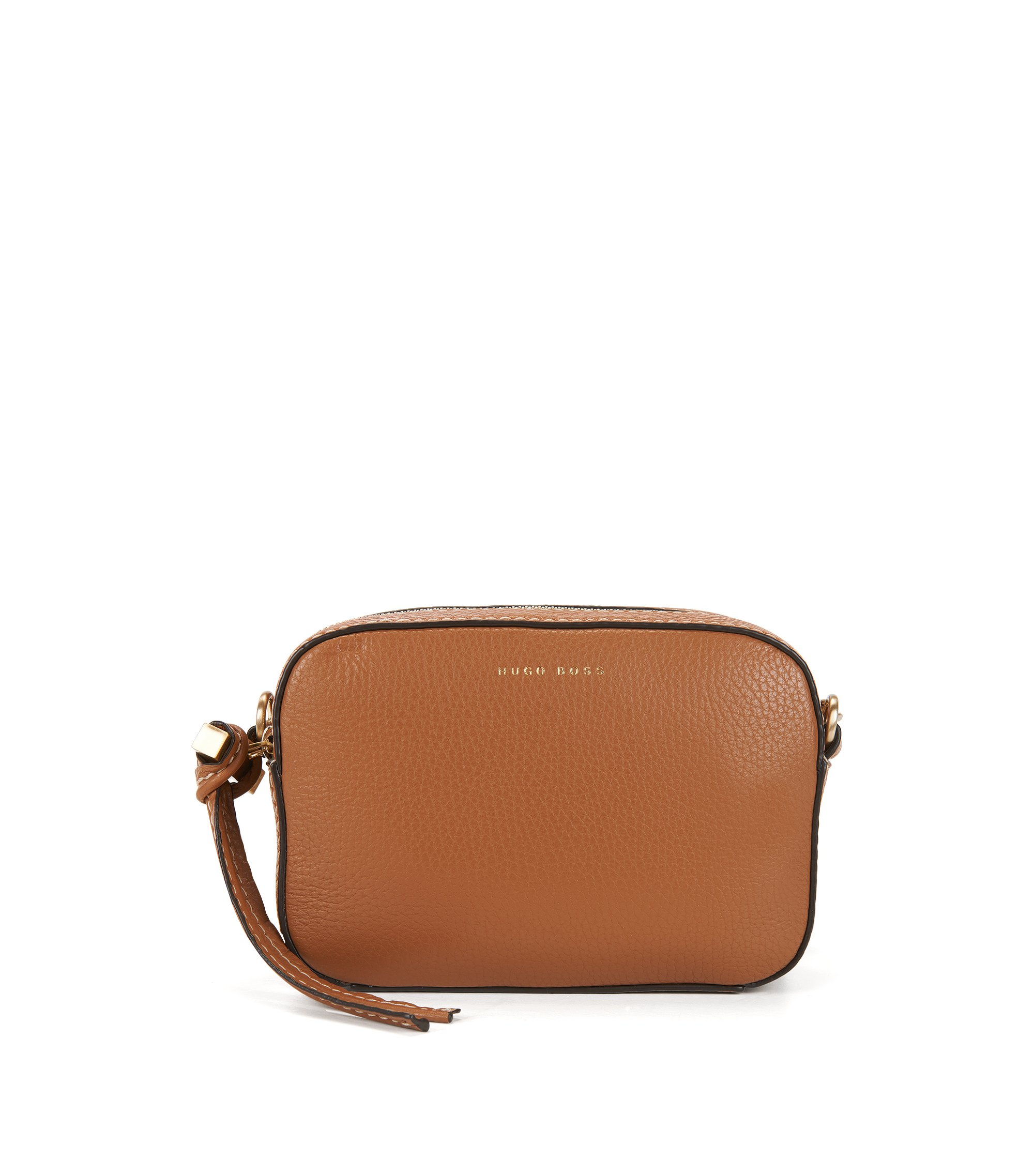 BOSS Bespoke Soft shoulder bag in grained Italian leather, Brown