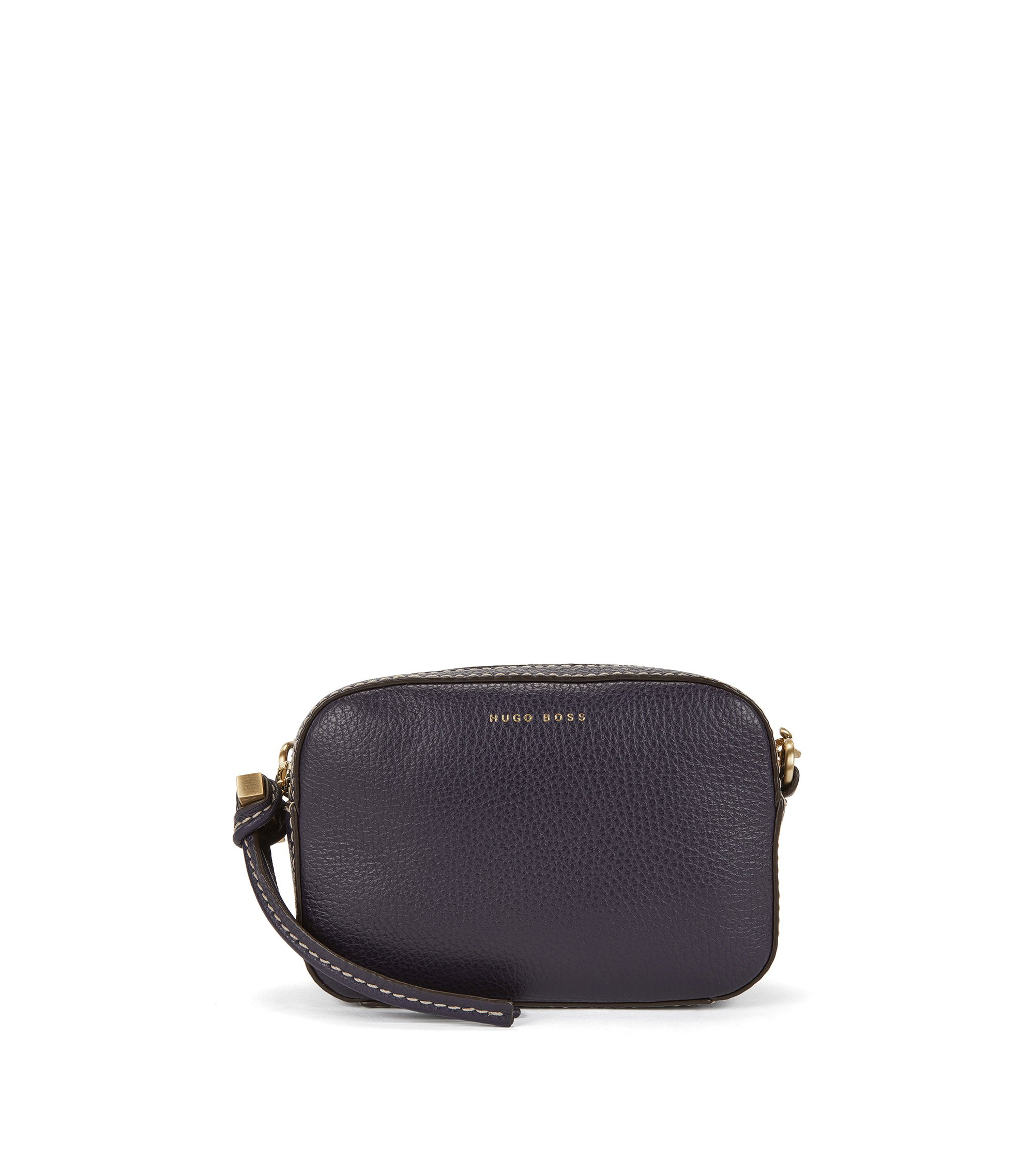 BOSS Bespoke Soft shoulder bag in grained Italian leather, Dark Purple