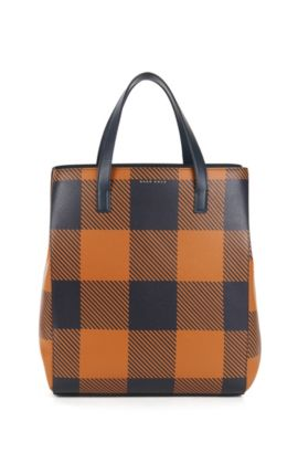 BOSS Bespoke Tote Bag aus bedrucktem Leder, Orange