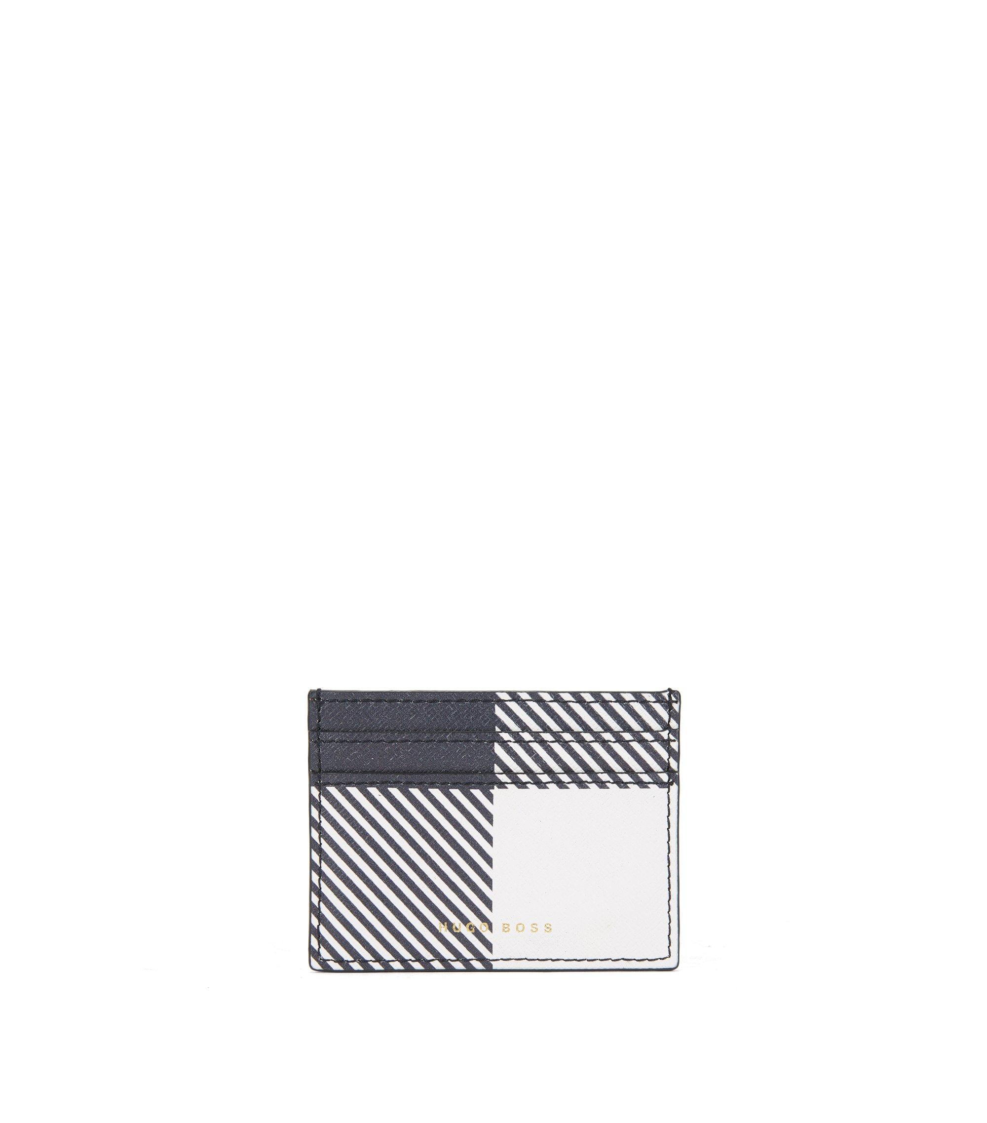 Tarjetero BOSS Bespoke Soft en piel con estampado de cuadros, Azul oscuro