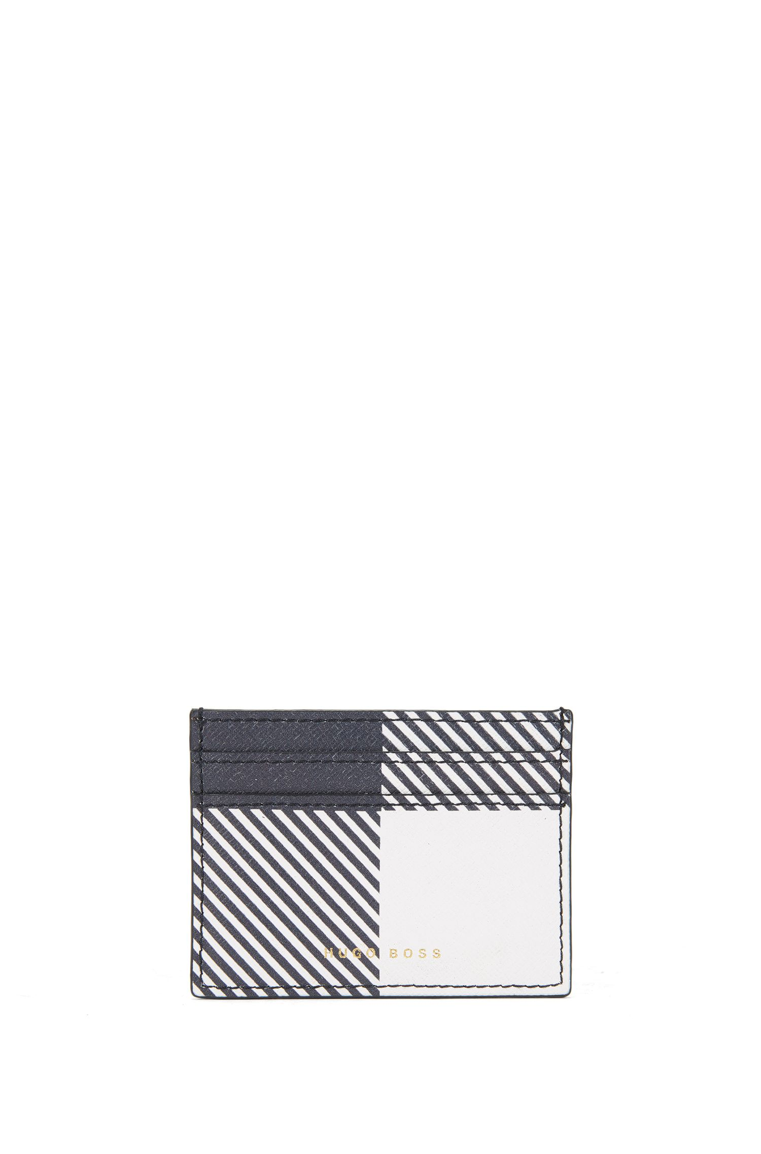 BOSS Bespoke Soft card holder in check-printed leather