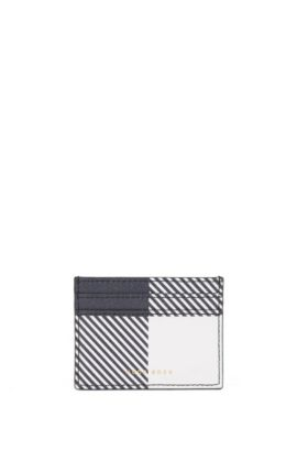 BOSS Bespoke Soft card holder in check-printed leather, Dark Blue