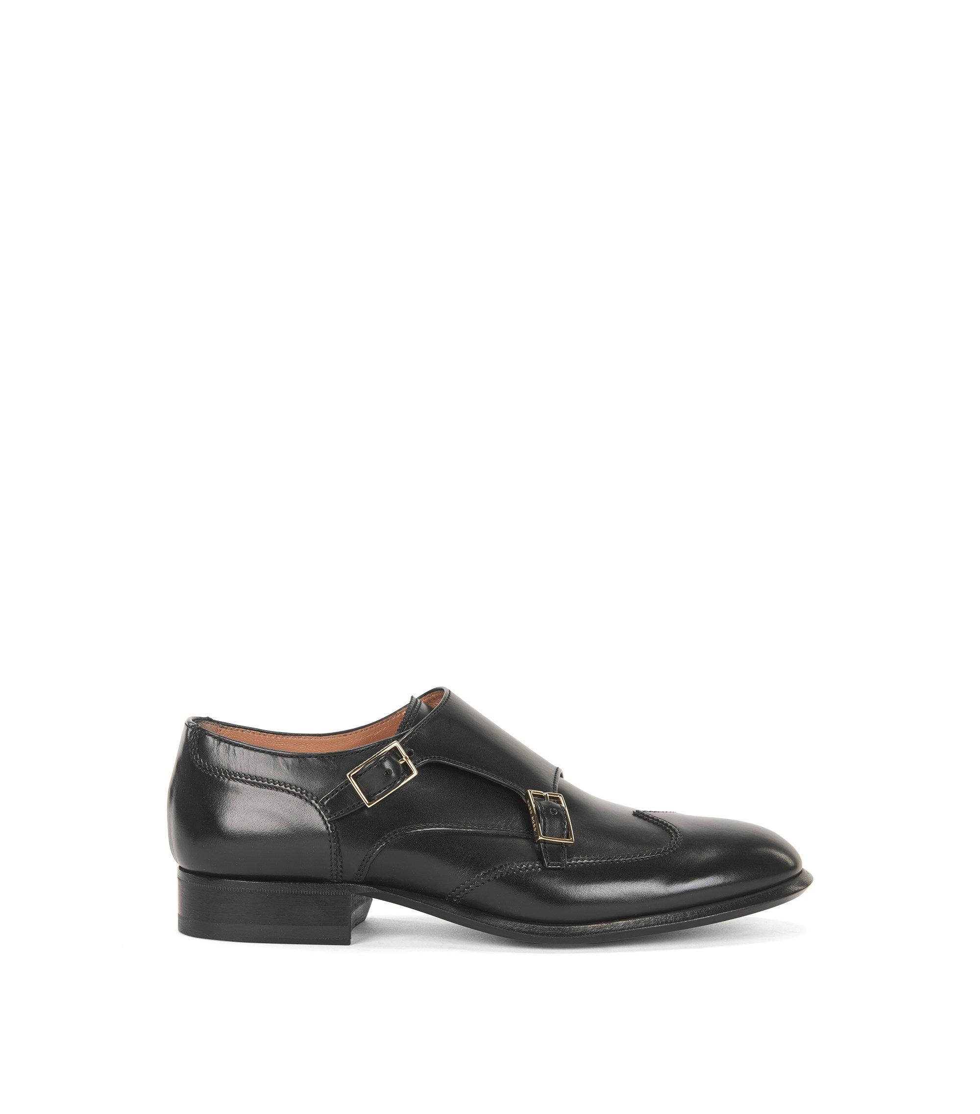 Chaussures double boucle en cuir italien, Noir