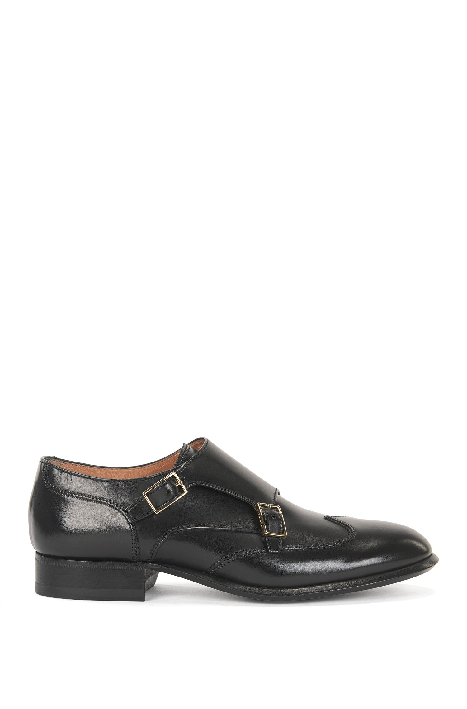 Double monk shoes in Italian leather