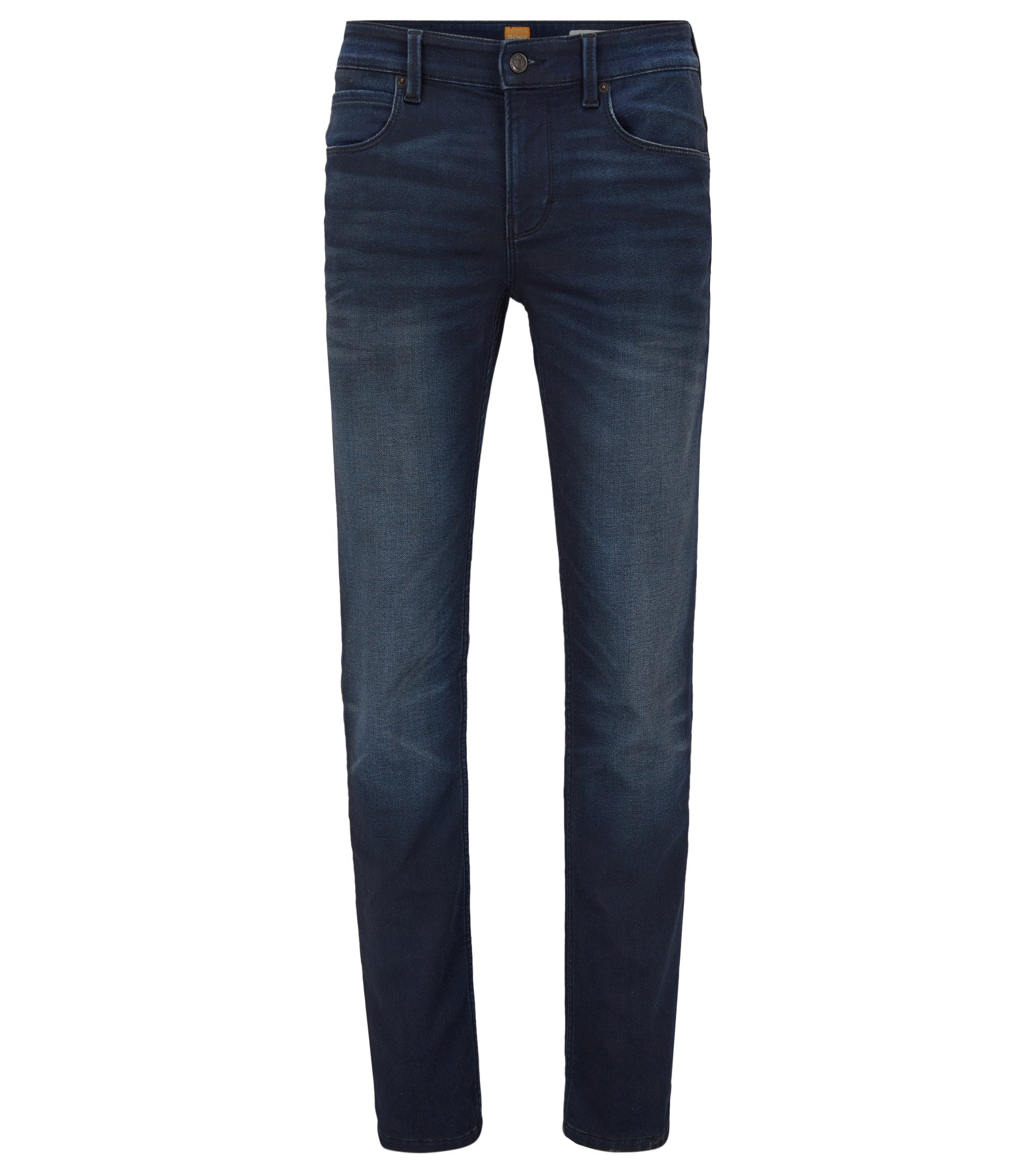 Jeans slim fit in denim in maglia, Blu scuro